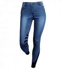Бриджи джинсовые для верховой езды с коленной силиконовой леей Stella, Fair Play